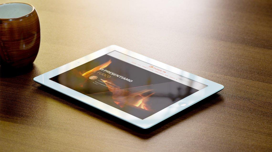 Fuoco in: rivenditore di stufe- sito da tablet