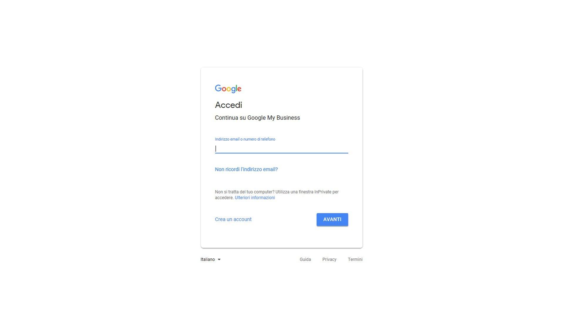Inserire azienda su Google maps - passaggio 2 registrazione