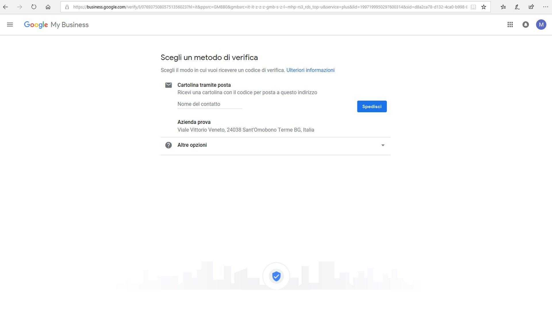 Inserire azienda su Google maps - passaggio 8 registrazione